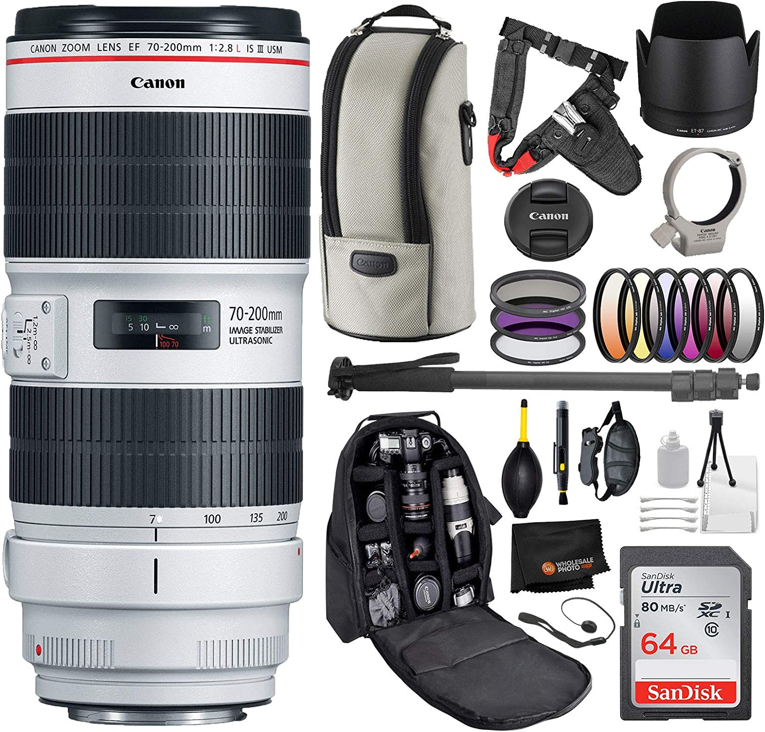 Canon EF 70-200mm f/2.8L is III USM Professional Bundle
