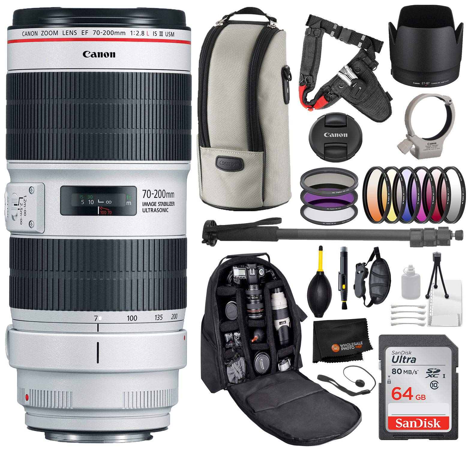 Canon EF 70-200mm f/2.8L is III USM Lens with Professional Bundle Package Deal Kit for EOS 7D Mark II, 6D Mark II, 5D Mark IV, 5D S R, 5D S, 5D Mark III, 80D, 70D, 77D, T5, T6, T6s, T7i by Canon