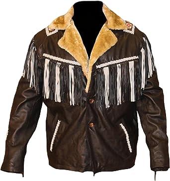 Classyak Mens Western Genuine Leather Fringed Biker Racer Jacket