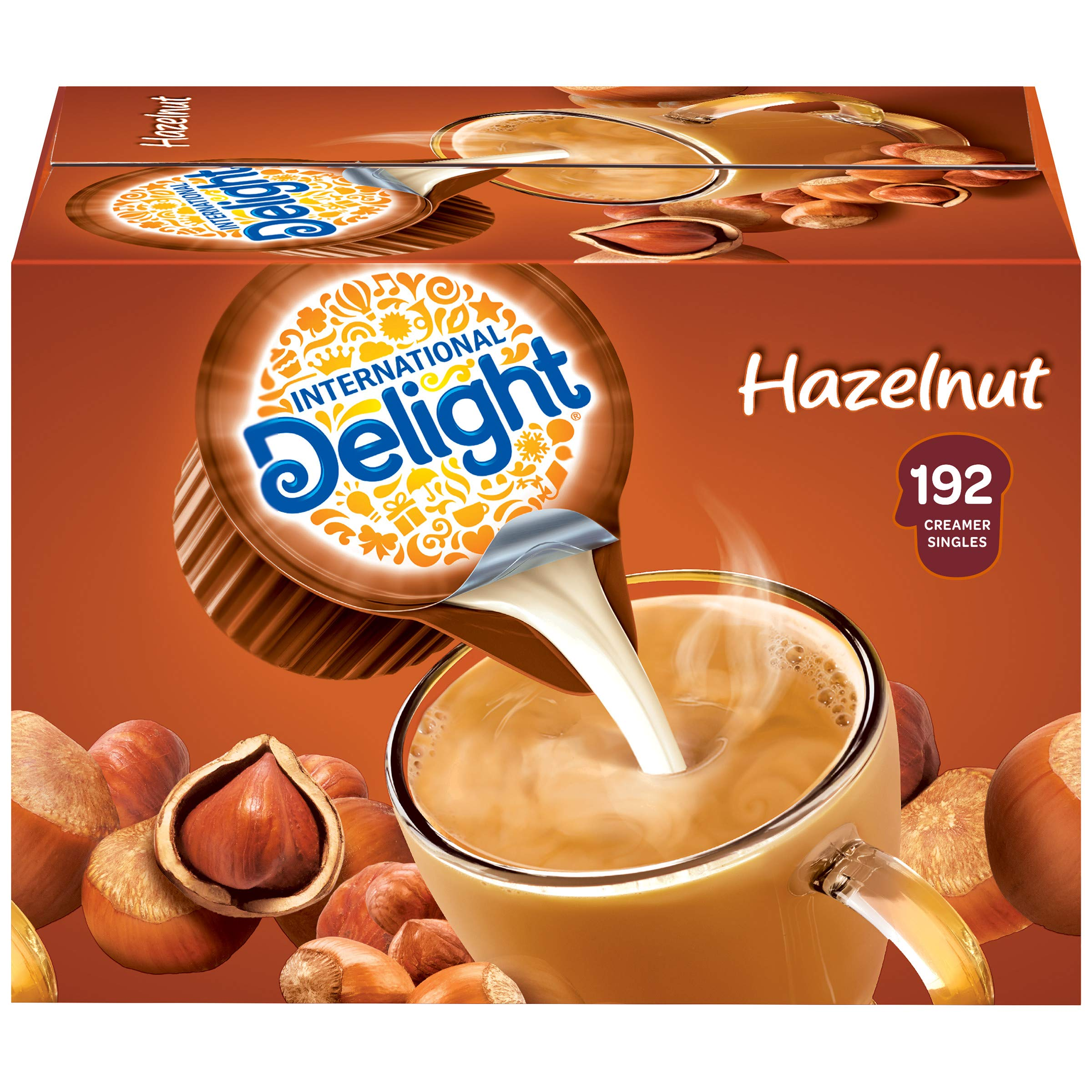 International Delight, SingleServe Coffee Creamers Pack of 1 Shelf Stable NonDairy Flavored Coffee Creamer Great for Home Use Offices Parties or Group Events, Hazelnut, 192 Count, (Pack of 192)