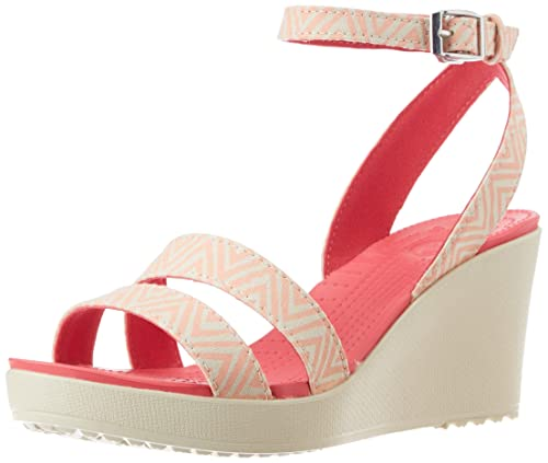 bf47f5ff743b crocs Women s Leigh Graphic Wedge W Melon and Stucco Canvas Wedges - W7