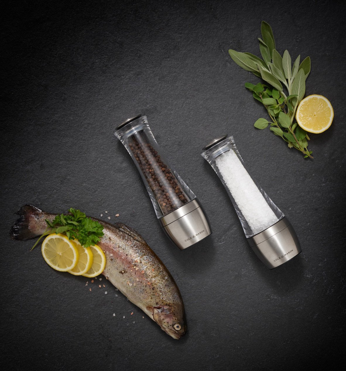 Adjustable Precision Mechanism COLE /& MASON Amesbury Pepper Grinder Durable Stainless Steel Mill With Acrylic Body 7.5 in.