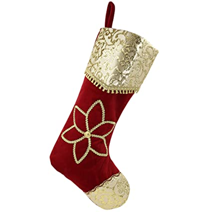 valery madelyn 21 red and gold christmas stocking with traditional christmas flower designthemed - Gold Christmas Stocking