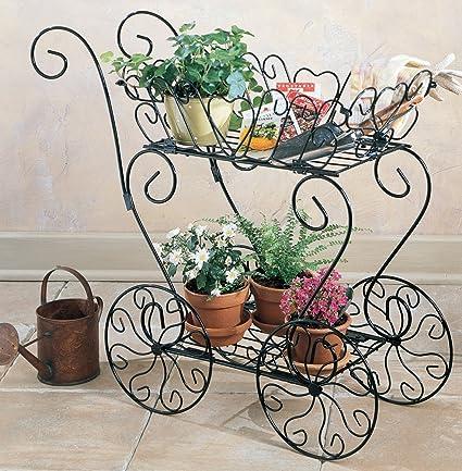 Decorative Metal Garden Cart Flowerpot Decoration Patio Porch Herbs Flowers  Potted Planter Holder