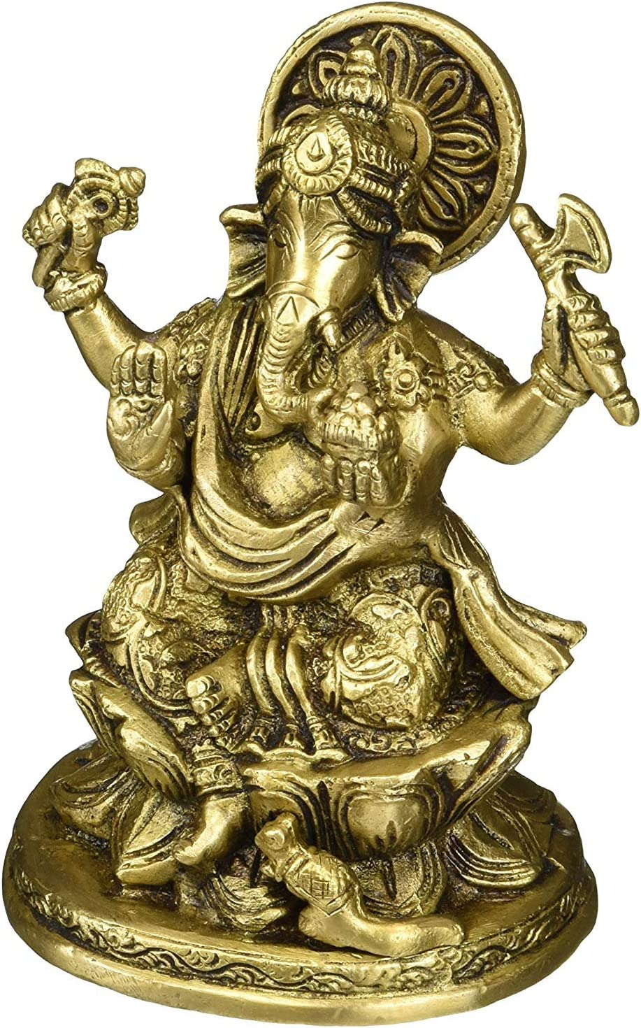 "Indian Accent 5 Inch Ganesh, Ganpati, Indian Hand Crafted Religious Sculpture of Ganesha Statue, (Weight 2 LB, 5"" X 3.2"" X 2.8""inches)"