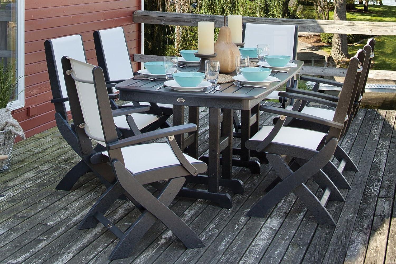 Amazon.com: POLYWOOD 9000 BL901 Coastal Folding Chair, Black/White Sling:  Patio, Lawn U0026 Garden
