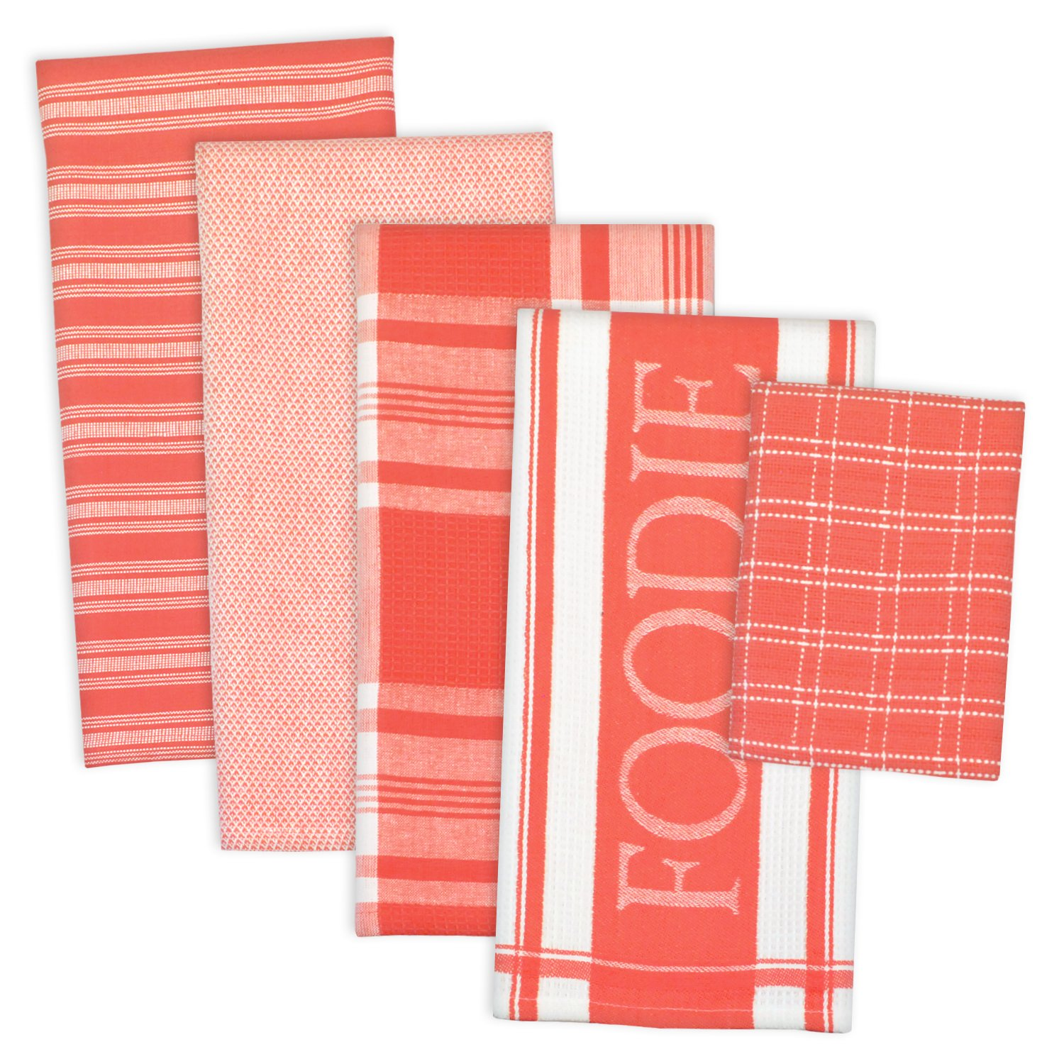 """DII Assorted Decorative Kitchen Dish Towels & Dish Cloth Foodie Set, Ultra Absorbent for Washing and Drying (Towels 18x28"""" & Cloths 13x13"""") Coral Red, Set of 5"""