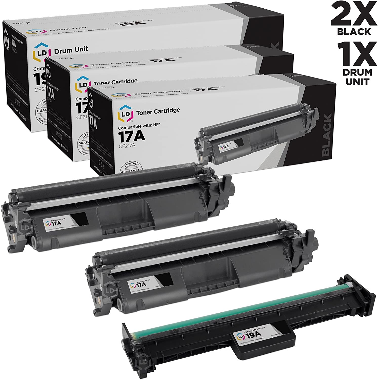 LD Compatible Toner & Drum Cartridge Replacements for HP 17A CF217A & HP 19A CF219A (2 Toners, 1 Drum, 3-Pack)