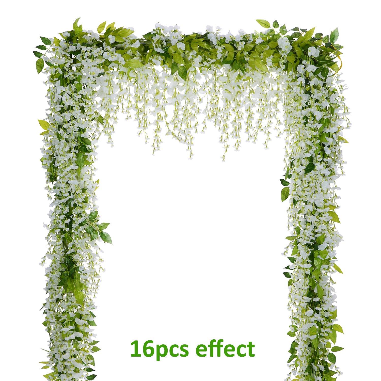 Lvydec Wisteria Artificial Flowers Garland 4Pcs Total 28.8ft White Artificial