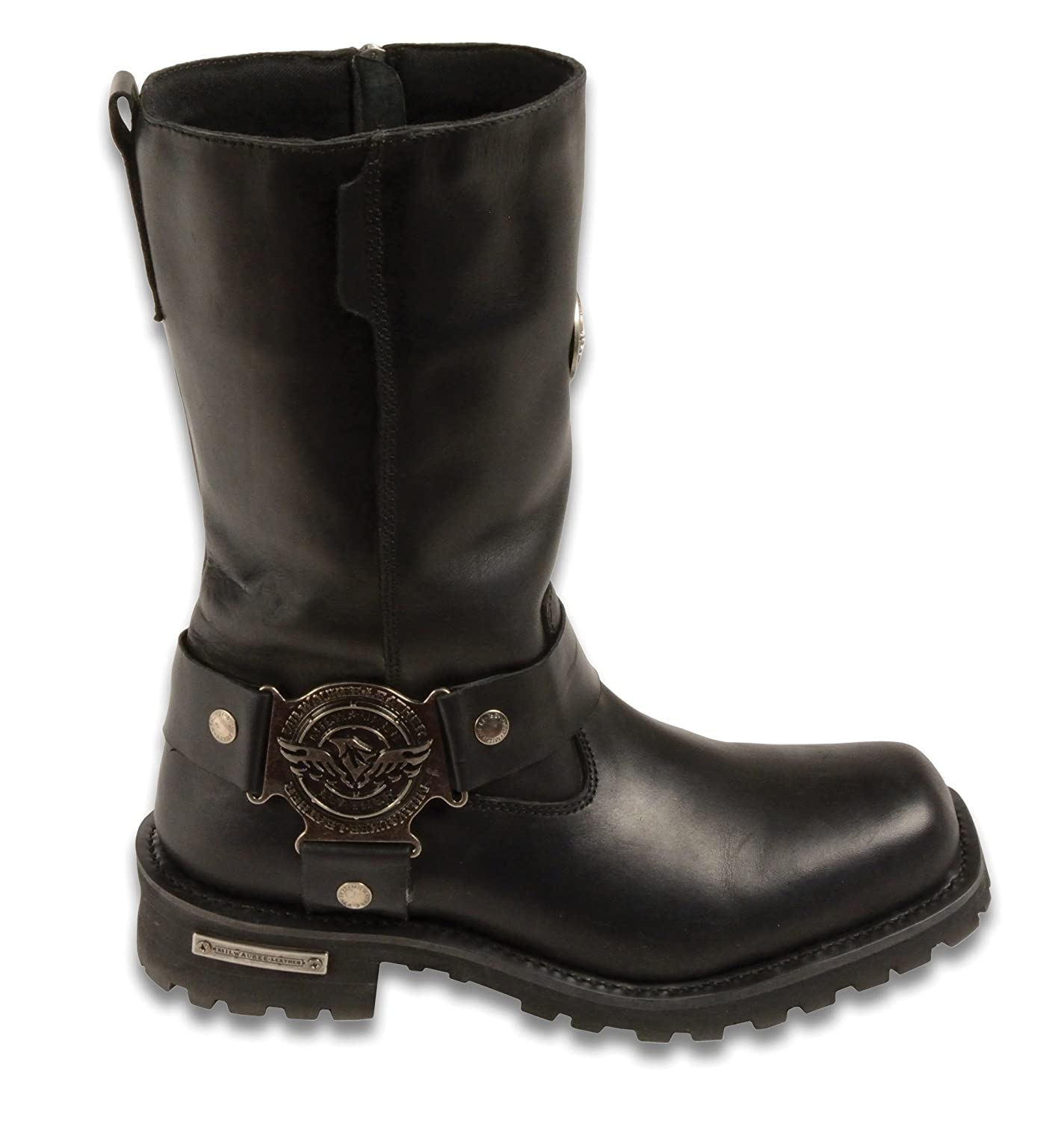 Black, Size 7 Milwaukee Mens Wide Harness Boots with Zip