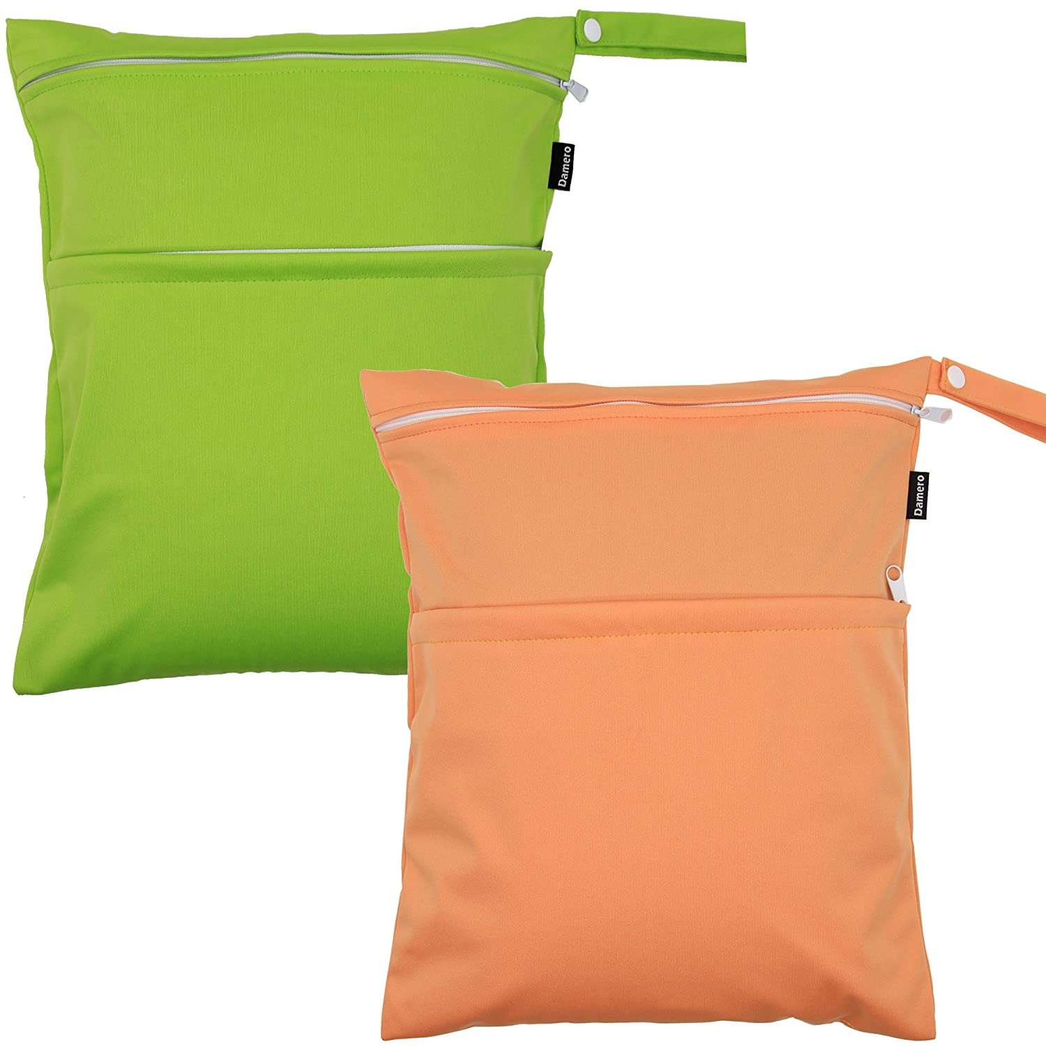 Damero 2pcs Pack Cute Travel Baby Wet and Dry Cloth Diaper Organizer Bag(Medium, Green+Orange)