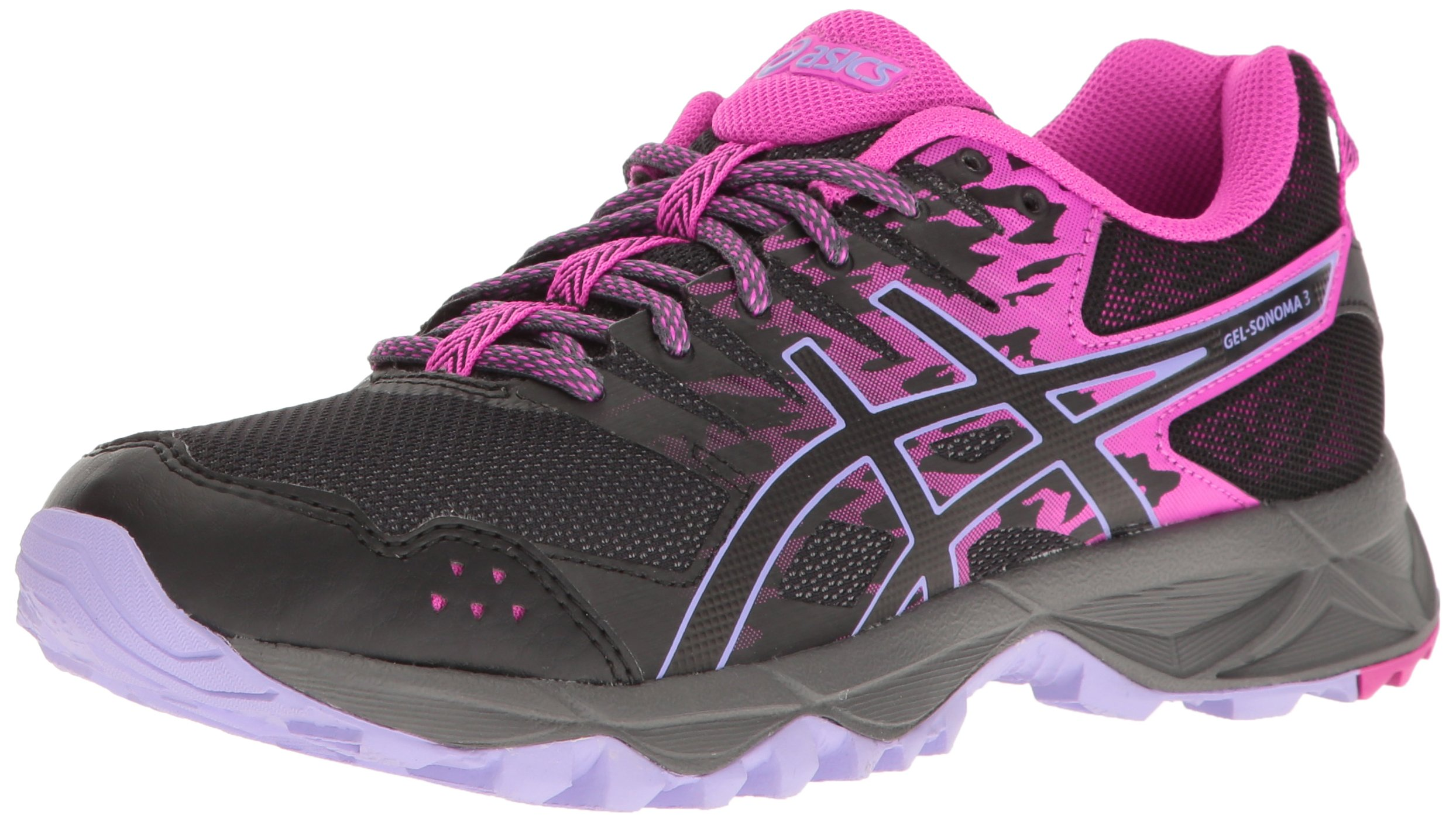 ASICS Women's Gel-Sonoma 3 Trail Runner, Pink Glow/Black/Lavender, 5.5 M US