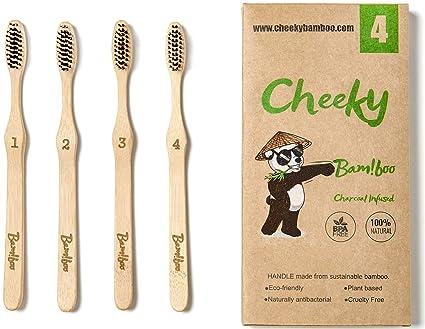 Cheeky Bamboo cepillo de dientes biodegradable orgánico ecológico natural con infusión de carbón con cerdas de