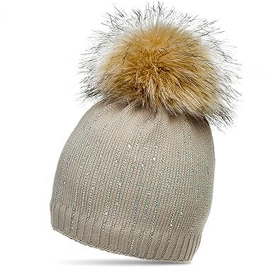 2c89b502ff54 Caspar MU158 Bonnet d hiver pour Femme en Tricot avec Strass et Pompon XL -