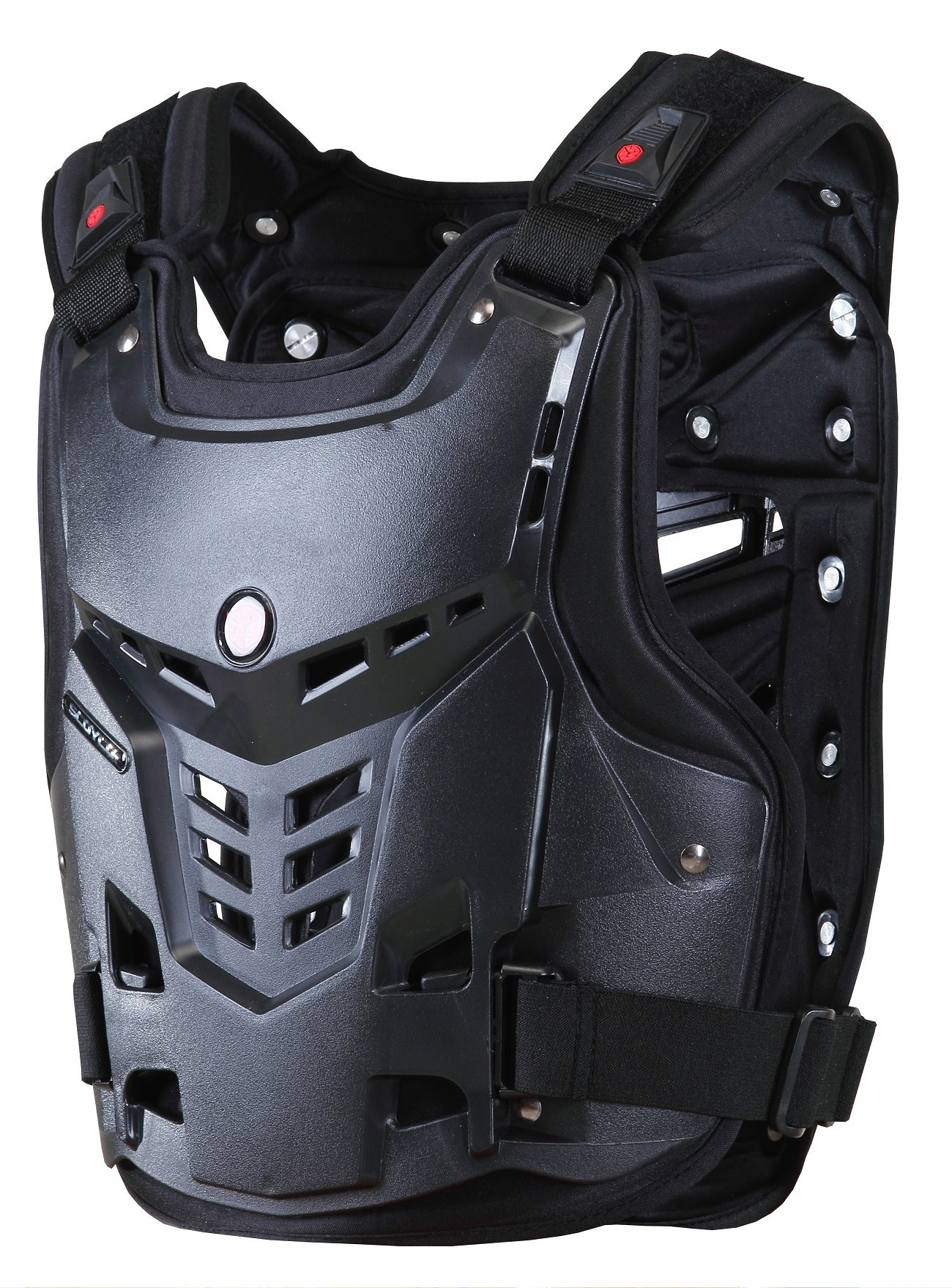 CRAZY AL'S CAM05 Body Armor Professional Motorcycle Motocross Racing Chest and Back Protector Motobike Bicycle Cycling Riding Motocross Gear Black White M/L/XL (Black, M)