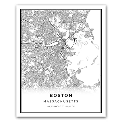 Amazon Com Boston Map Poster Print Modern Black And White Wall