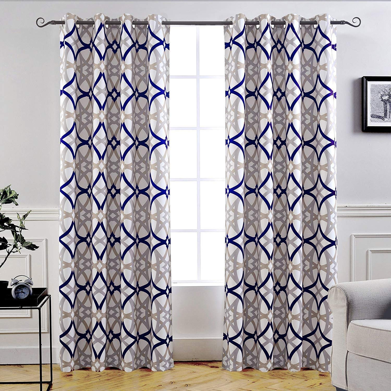 "DriftAway Alexander Thermal Blackout Grommet Unlined Window Curtains, Spiral Geo Trellis Pattern, Set of Two Panels, Each Size 52""x84"" (Navy/Gray)"
