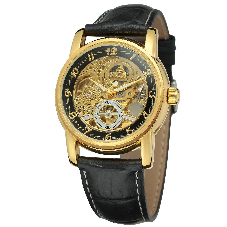 FORSINING メンズ 自動自動巻上げ レザー カジュアル スケルトン 腕時計 アラビア数字 WRG8120M3G1 B071CNTW7M