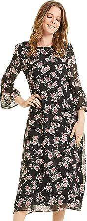 SONJA BETRO Women's Printed Chiffon 3/4 Bell Ruffle Sleeve Empire Midi Dress Plus Size