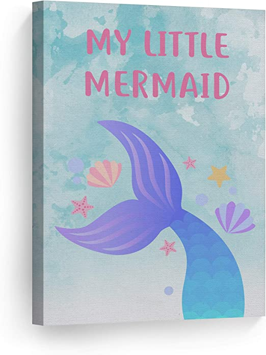 Amazon Com Smile Art Design My Little Mermaid Quote Wall Decor Watercolor Paint Background Canvas Print Kids Room Decor Wall Art Baby Room Decor Nursery Decor Ready To Hang Made In The Usa