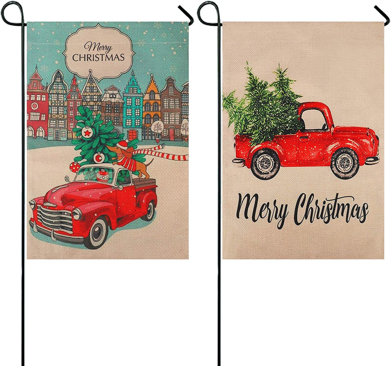 XQL 2 Pack Christmas Garden Flag Winter Holiday Merry Christmas Flag, Red Truck Xmas House Decorative Vintage Tree Yard Flag for Home (12 x 18 inch)