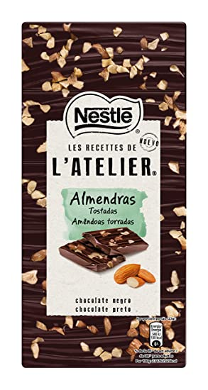 Nestlé Les Recettes de Atelier Tableta Chocolate Negro y Almendras - 115 gr
