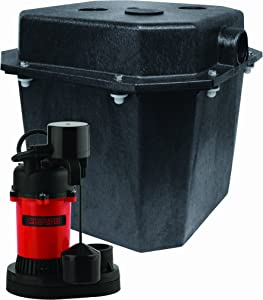 Red Lion RL-SPS33 1/4 HP Sump Pump Water Removal System with Vertical Float Switch and Five Gallon Basin