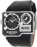 Diesel - DZ7101 - Montre Homme Acier - Quartz Analogique et Digitale - Carrée - Double Fuseau Horaire - Bracelet Cuir Noir