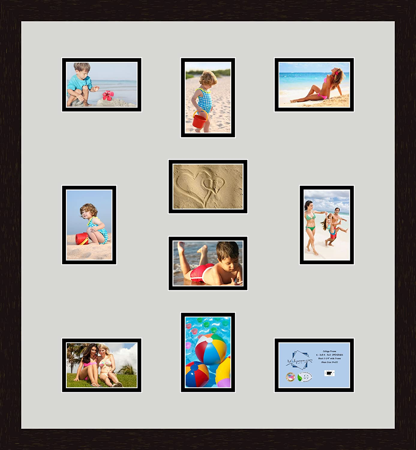 Art to Frames Double-Multimat-402-825//89-FRBW26061 Collage Frame Photo Mat Double Mat with 10-3.5x5 Openings and Espresso Frame
