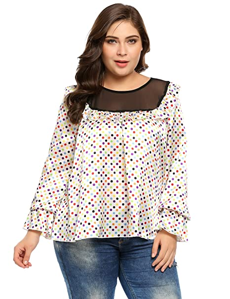 6971c148192c1 IN VOLAND Women s Plus Size Print Blouses Long Bell Sleeve Ruffled Leopard  Stain Blouse Tops Shirts at Amazon Women s Clothing store