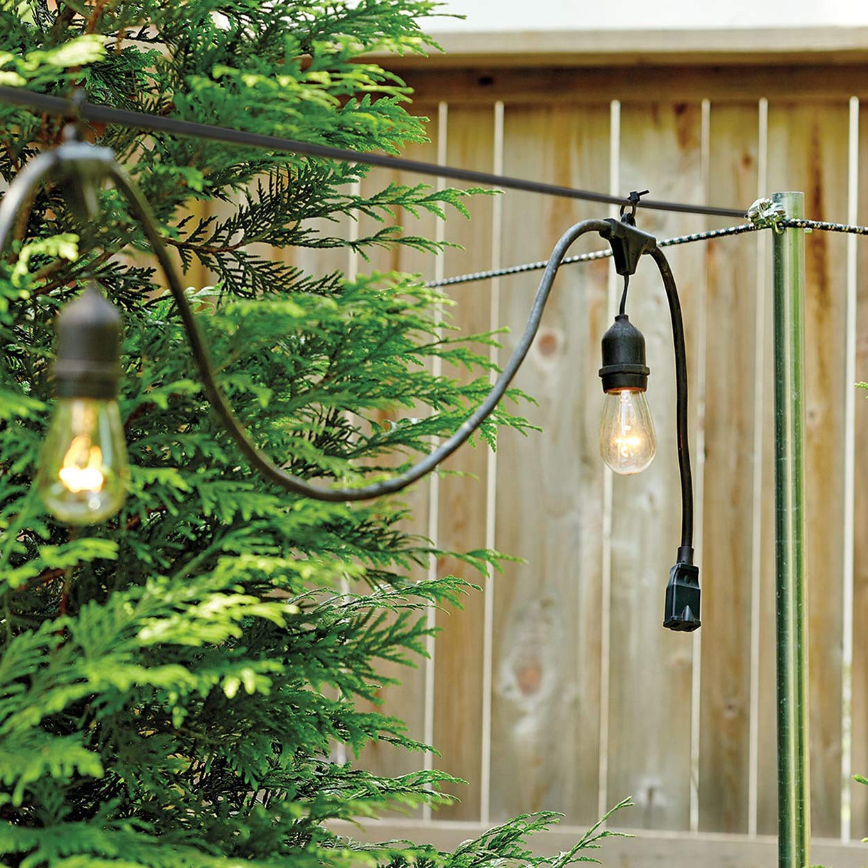 COCONUT Outdoor Lights Hanging Kit, String Lights Suspension Kit for Patio, Garden, Wedding - Stainless Steel Guide Wire Rope Cable, Turnbuckle and Hooks (100FT) by COCONUT