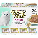Purina Fancy Feast Grain Free Pate Wet Kitten Food Variety Pack, Kitten Classic Pate Collection, 4 flavors - (24) 3 oz…