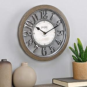 FirsTime & Co. Black Antique Farmhouse Contour Clock, American Designed, Brown, 10 inches (31223)