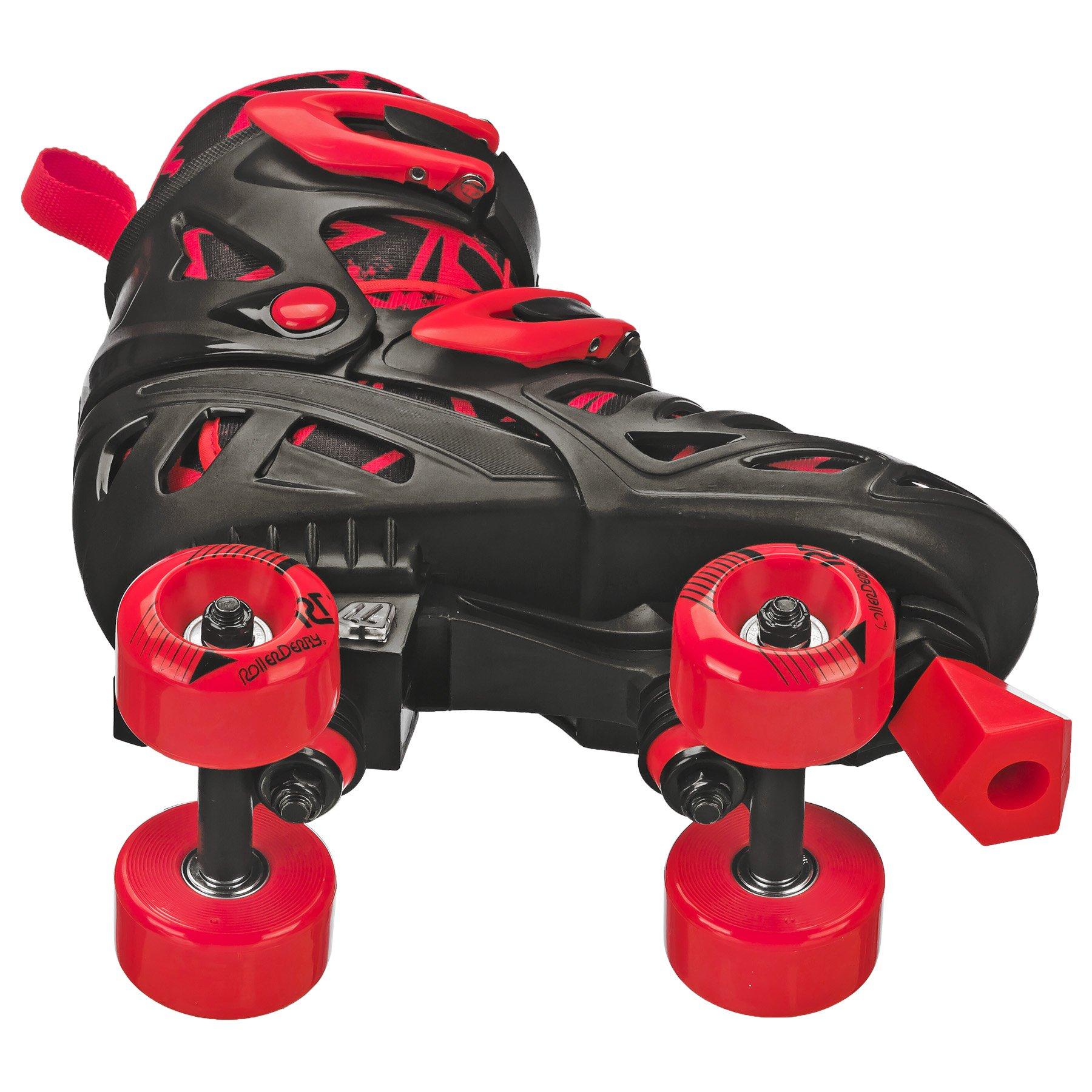 Roller Derby Trac Star Boy's Adjustable Roller Skate, Grey/Black/Red, Large (3-6) by Roller Derby (Image #3)