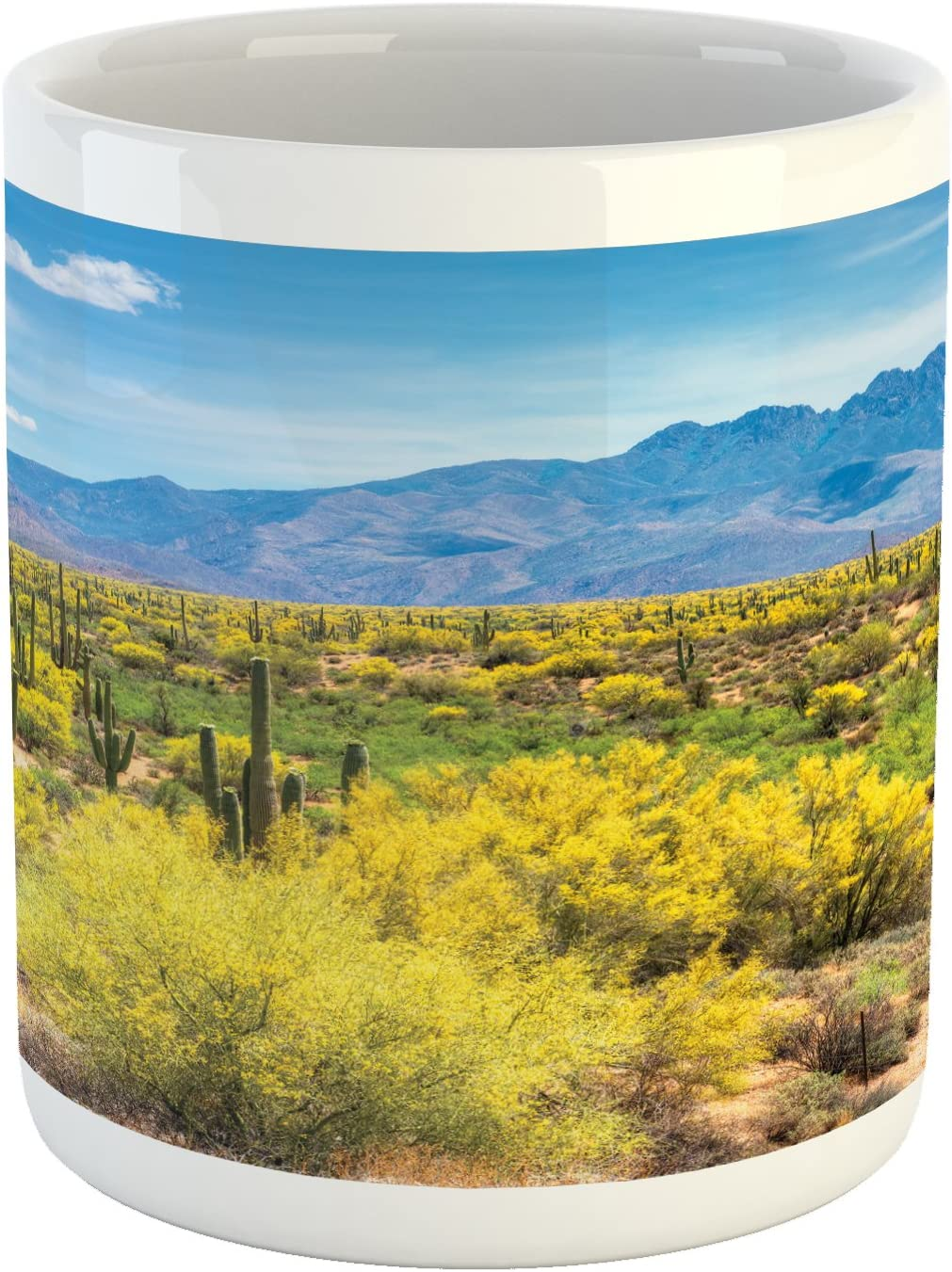 Lunarable Saguaro Mug, Blooming Palo Verdes and Saguaros at 4 Peaks Hills Phoenix Arizona, Ceramic Coffee Mug Cup for Water Tea Drinks, 11 oz, Apple Green