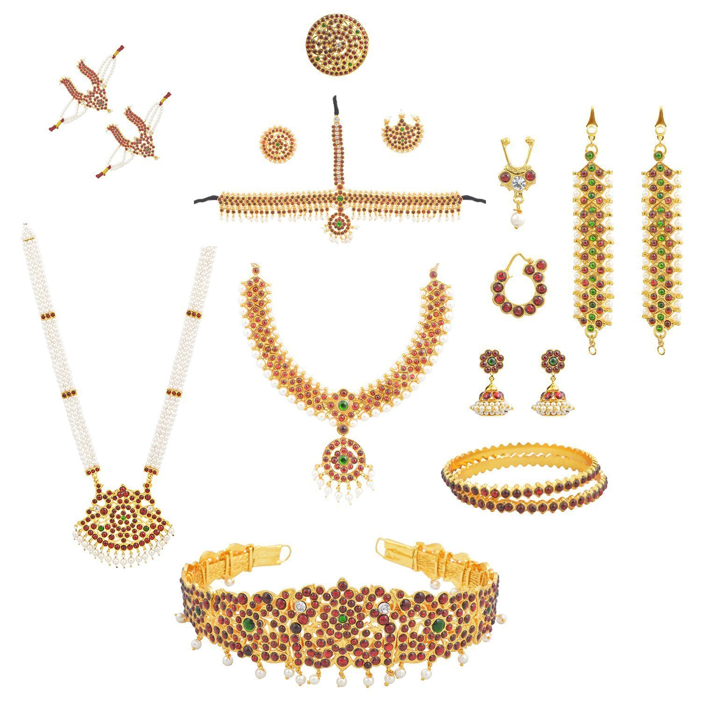 fashionAtelier Multi Color Full bharatanatyam jewellery Dance Set (10 Items) by Fashionatelier