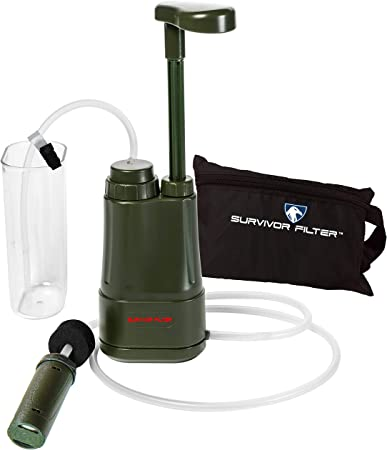 Survivor Filter Pro - Hand Pump Camping Water Filter - Emergency Water Filter for Camping, Hiking, Travel, & Survival