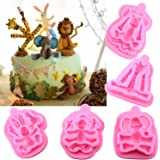 Mujiang Animal Molds Silicone Fondant Cake Decorating Supplies Set Of 5