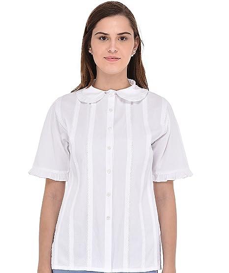 bbb54933529a Cotton Lane Peter Pan Collar Classic White Blouse  Amazon.co.uk ...