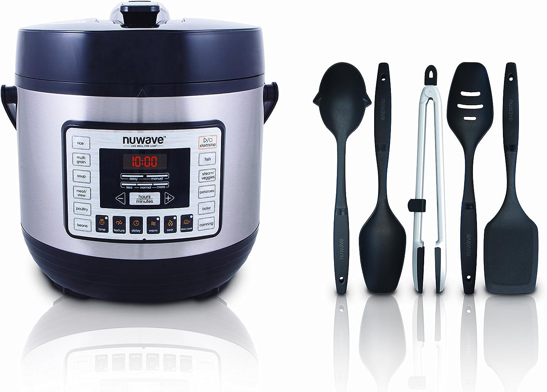 NuWave 6Qt Nutri-Pot Digital Pressure Cooker with bonus accessories & 5-piece Utensil Set
