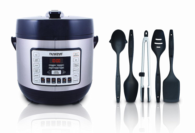 NuWave 6Qt Nutri-Pot Digital Pressure Cooker with bonus accessories /& 5-piece Utensil Set