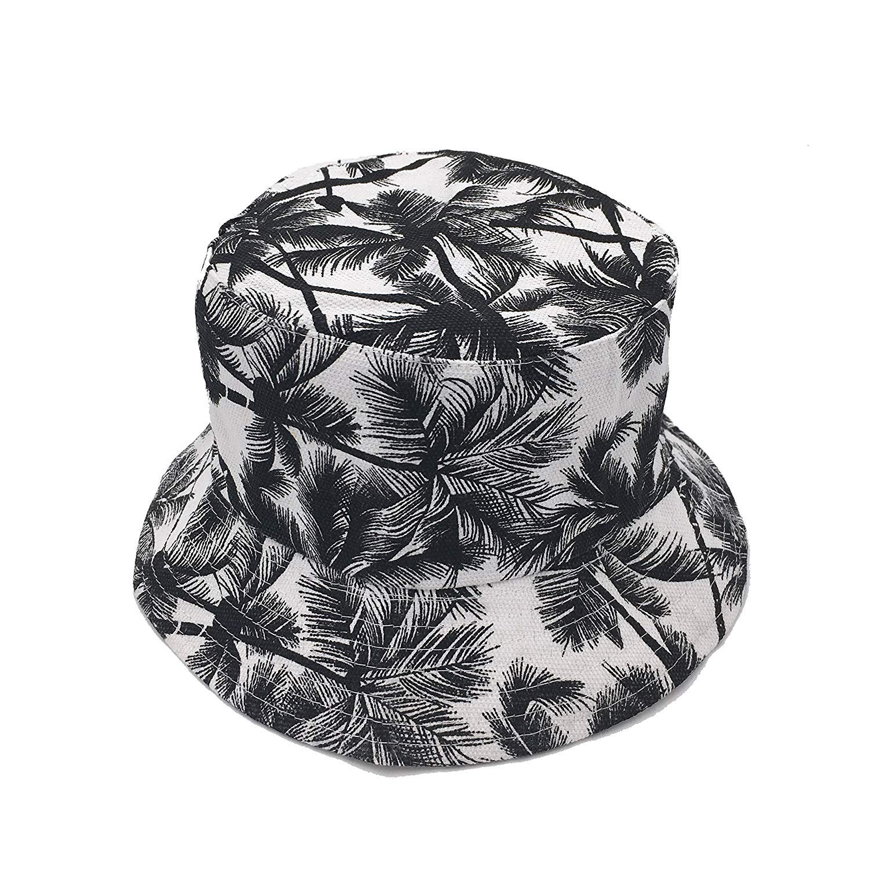 VIVICMW Protection Pattern Summer Outdoor Travel Sun Cap Womens Dual-use Flat Top Bucket Hat Fisherman Fishing Headgear