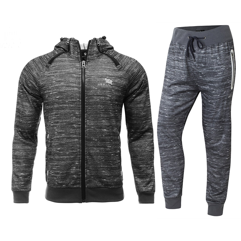 FZDX Men's Casual Zip Up Hoodies Jacket Jogger Pants Sport Tractsuit (2 Pieces) by FZDX