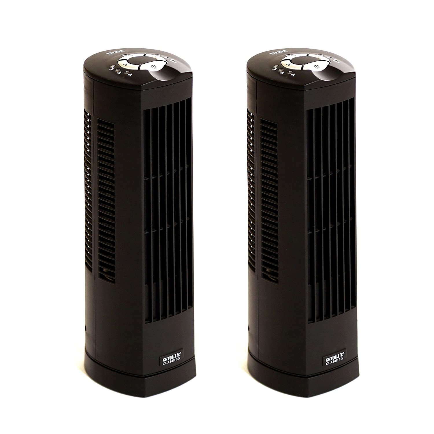 Seville Classics UltraSlimline 17 in. Oscillating Personal Tower Fan (2-Pack), Black EHF10123B