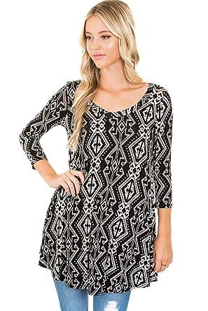 7865eebe9e5 Frumos Womens Tunic Tops For Leggings V-Neck Top Black White 3X-Large