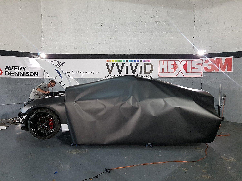 VViViD+ Matte Metallic Black Vinyl Wrap (6ft x 5ft) by VViViD (Image #3)