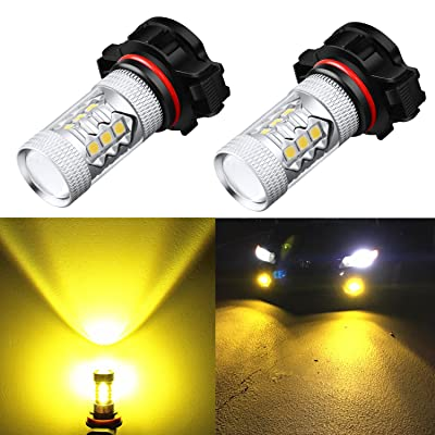 Alla Lighting PSX24W 2504 LED Fog Light Bulbs Yellow Xtreme Super Bright High Power 3030 SMD 12276 3000K Amber 12V LED Replacement for Cars, Trucks: Automotive