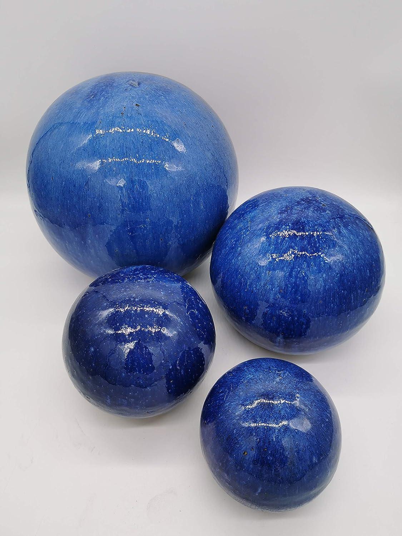 3er Set Gartenkugeln Blau glasiert 12cm, 16cm und 20cm absolut frostfest