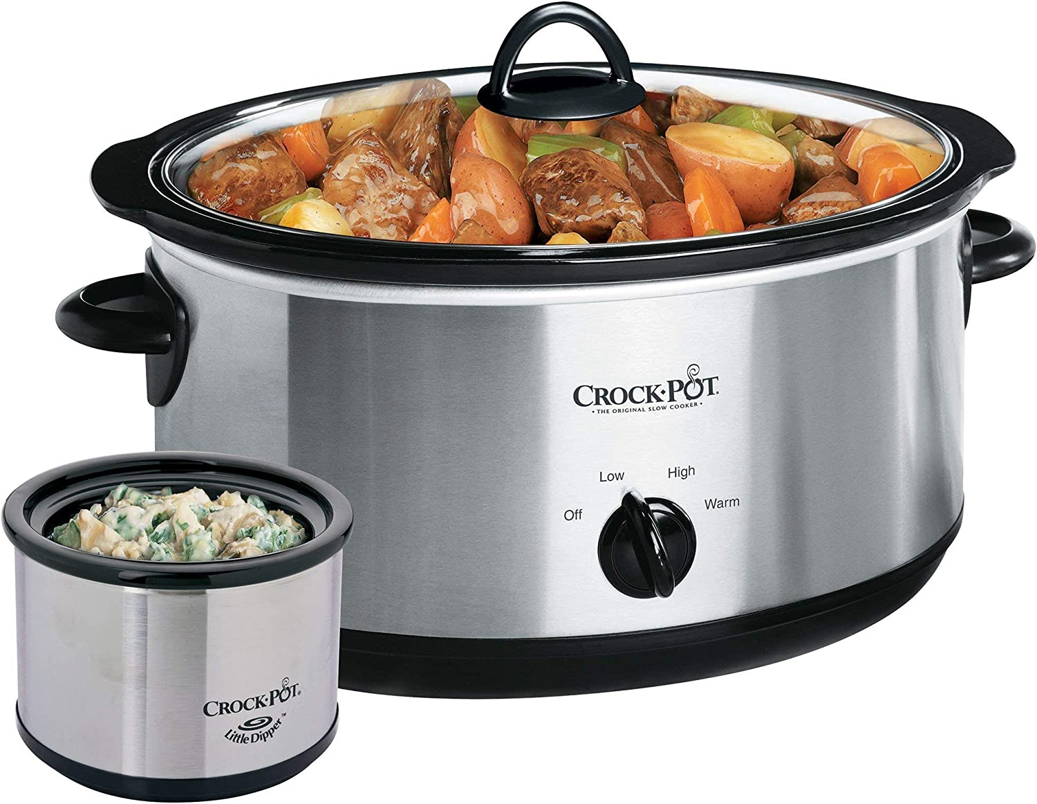 Crockpot SCV803-SS 8 quart Manual Slow Cooker with 16 oz Little Dipper Food Warme