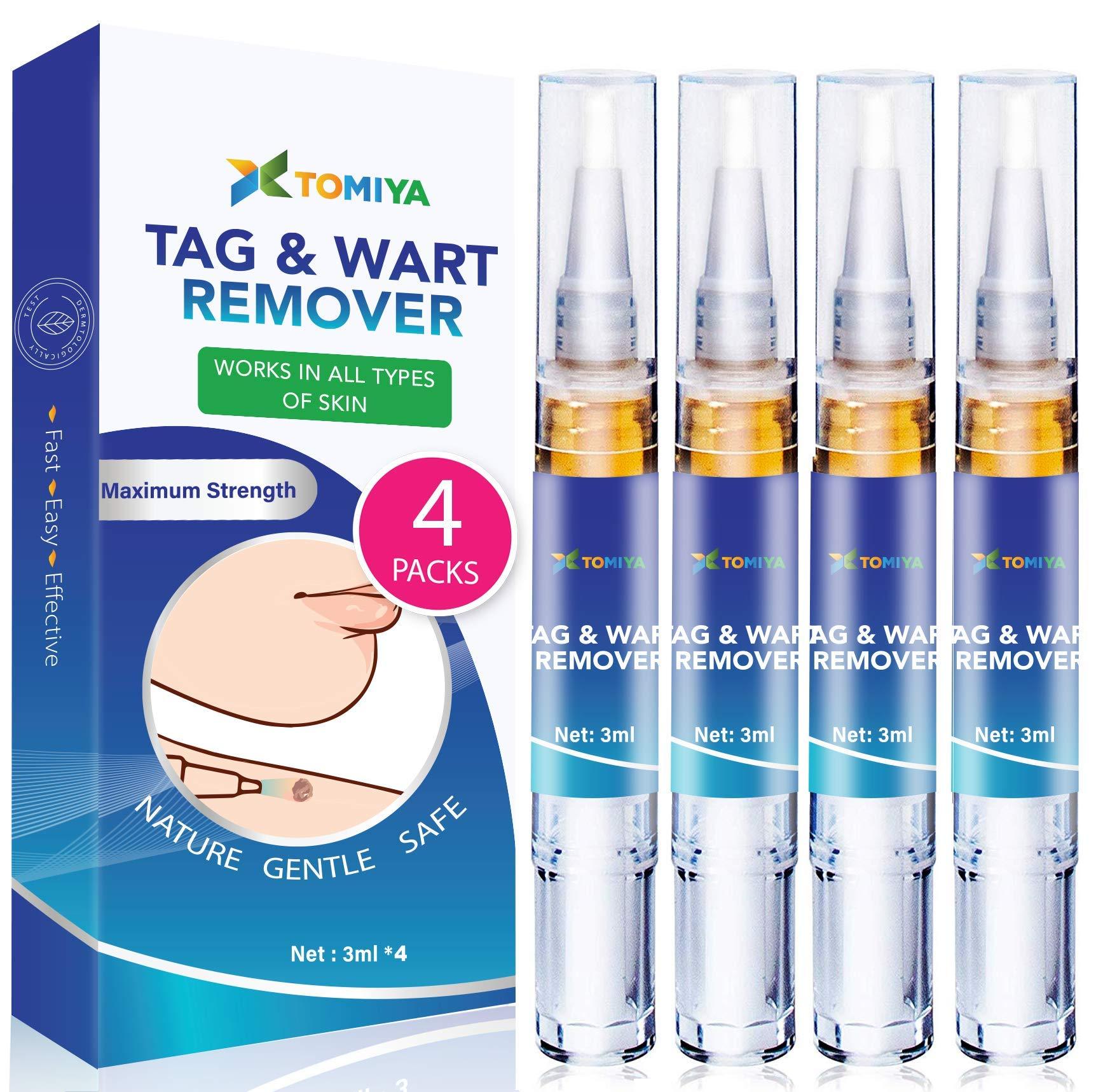 Tomiya Skin Tag Remover - Wart Remover - Quickly Remove Common And Plantar Warts - Corns - Callus -Skin Tag Removal(4 Packs) (Blue)